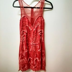 (RARE)Free People beaded coral butterfly dress
